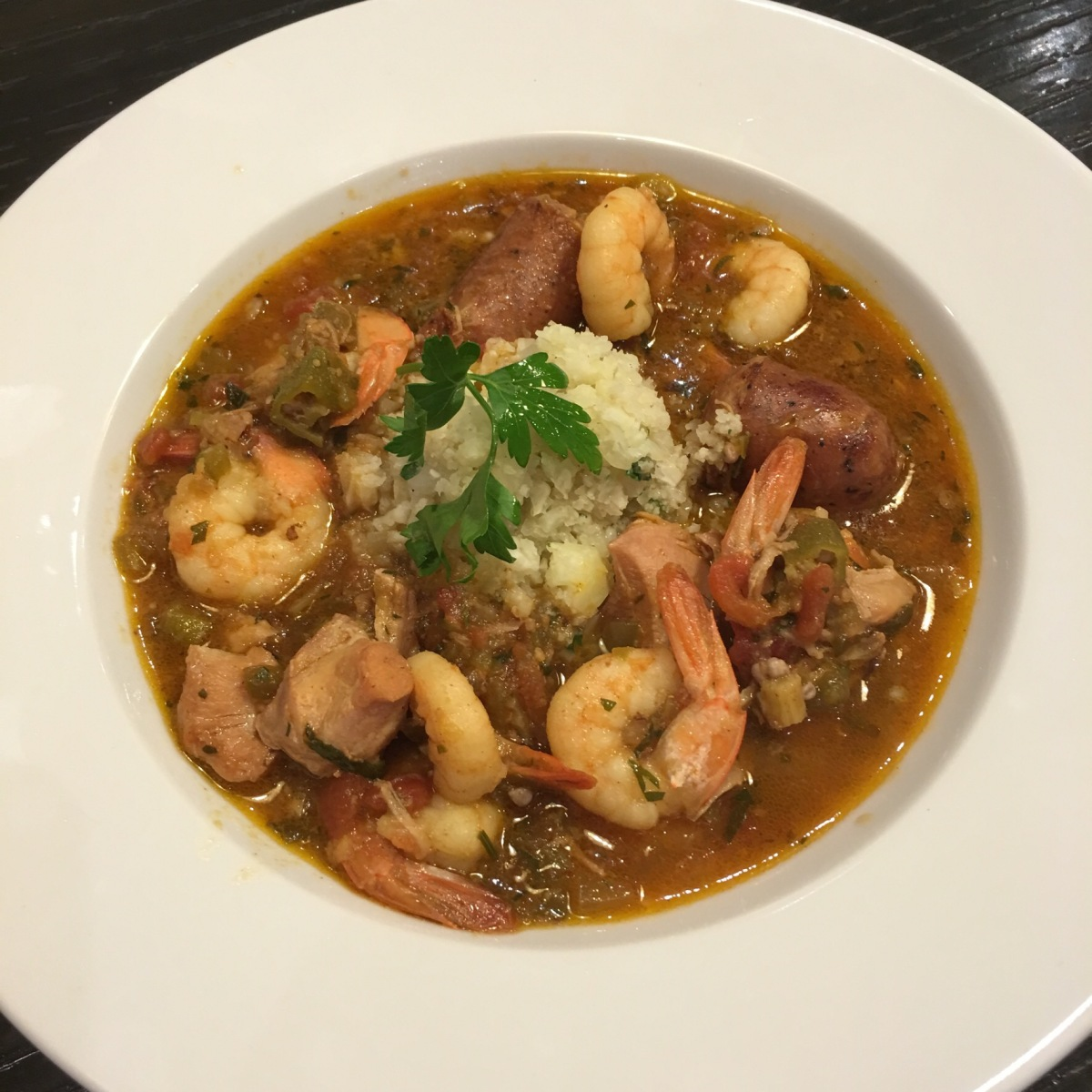 Low Carb Chicken, Sausage and Shrimp Gumbo